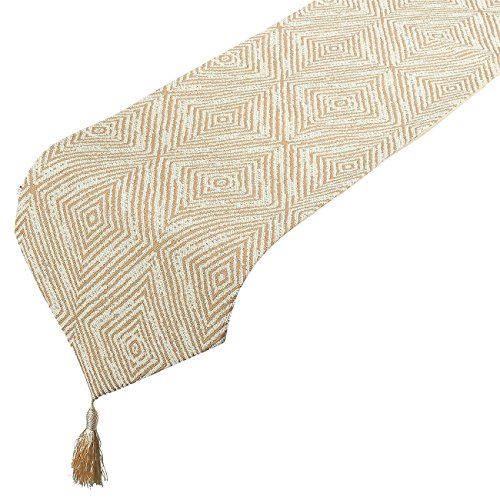 (Table Runner - Polyester Cotton Dresser Runner with Tassels and Diamond Embroidery, Ideal for Coffee Table Runner, Dining Table Runner, or Kitchen Table Runner, Ivory, 78.5 x 12.05 x 0.2 Inches)