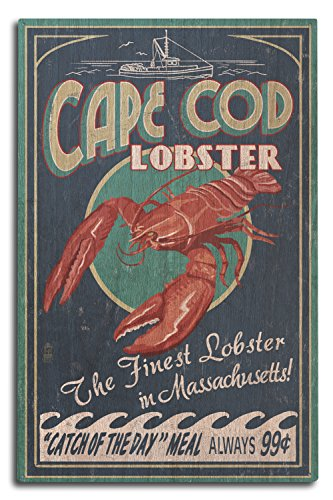 - Cape Cod, Massachusetts - Lobster Vintage Sign (10x15 Wood Wall Sign, Wall Decor Ready to Hang)
