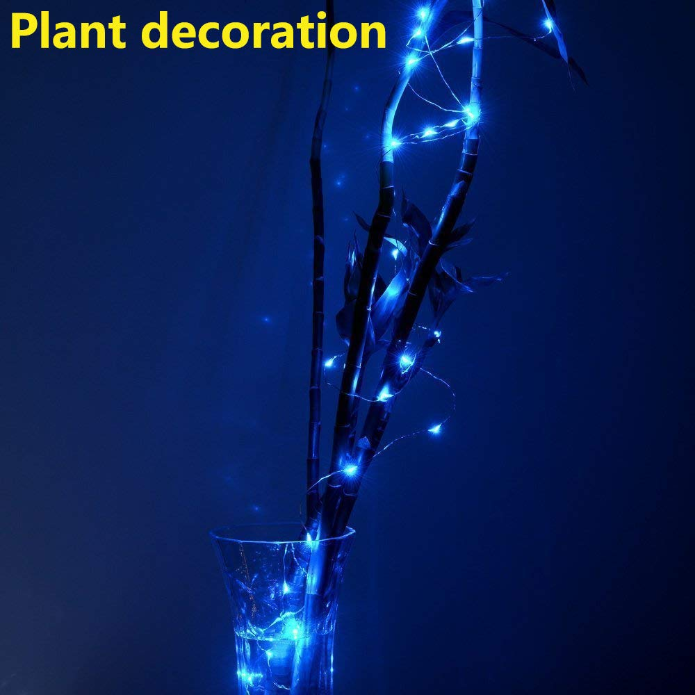 Tuscom 4M 40LED Silver Copper Wire Mini Fairy String Lights|Submersible Waterproof Base Lamp|ndoor Outdoor Decorative Light for Patio/Party/Christmas Tree/Wedding/Room Decorations (5 Colors) (Blue)