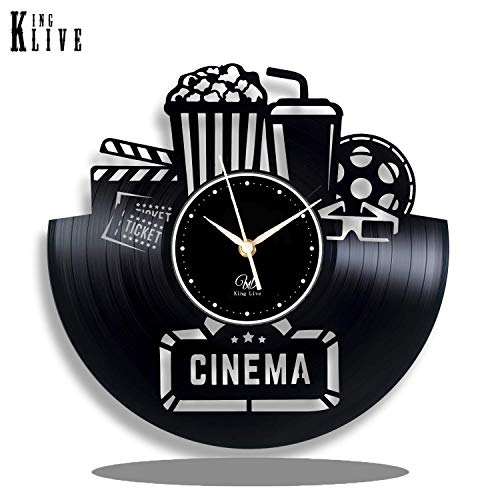 (Cinema Vinyl Wall Clock-Unique Home Theater Movie Night Film Reels Popcorn Wall Decor Home Decorations-Best Gift for A Movie Lover Unique Gift to Your Friends and Family for Any Occasion)