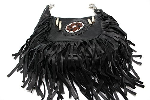 Black Fringe Loop Hip Pouch Red Indians Genuine Leather Boho Cross Body Hip Fanny Bag by Juzar Tapal Collection (Image #2)