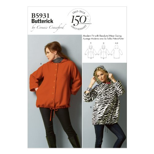 Butterick Connie Crawford Pattern 5932 Women's Hooded Jacket Sizes XXL-1X-2X-3X-4X-5X-6X