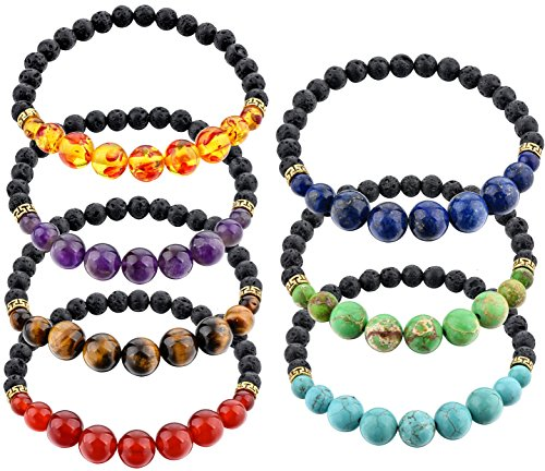 LATL 7 Chakras 10mm 8mm Stone Reiki Healing Yoga Bead 6mm Lava Rock Essential Oil Diffuser Stretch Ankle Bracelet Set for Women and Men