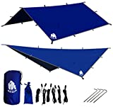 CHILL GORILLA 12' HAMMOCK RAIN FLY TENT TARP Waterproof Camping Shelter. Essential Survival Gear. Stakes Included. Lightweight. Easy to setup. Made from RIPSTOP Nylon BLUE ()