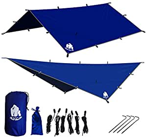 CHILL GORILLA 12' HAMMOCK RAIN FLY TENT TARP Waterproof Camping Shelter. Essential Survival Gear. Stakes Included. Lightweight. Easy to setup. Made from RIPSTOP Nylon BLUE