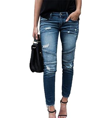 3799507916 Dooxi Mujer Casual Skinny Delgado Lápiz Denim Pantalones Vaqueros Boyfriend  Rotos Tejanos Pantalones Azul Claro 2XL  Amazon.es  Ropa y accesorios