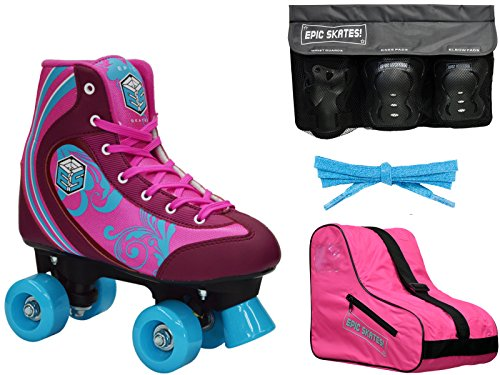 New! Epic Cotton Candy Quad Roller Skate 4Pc. Bundle w/ Bag & Safety Pads (Juvenile 13 / Small Pads)