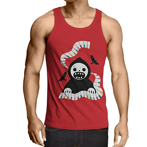 Vest Halloween Horror Nights - The Death is Playing on Piano - Cool Scarry Design (XX-Large Red Multi -