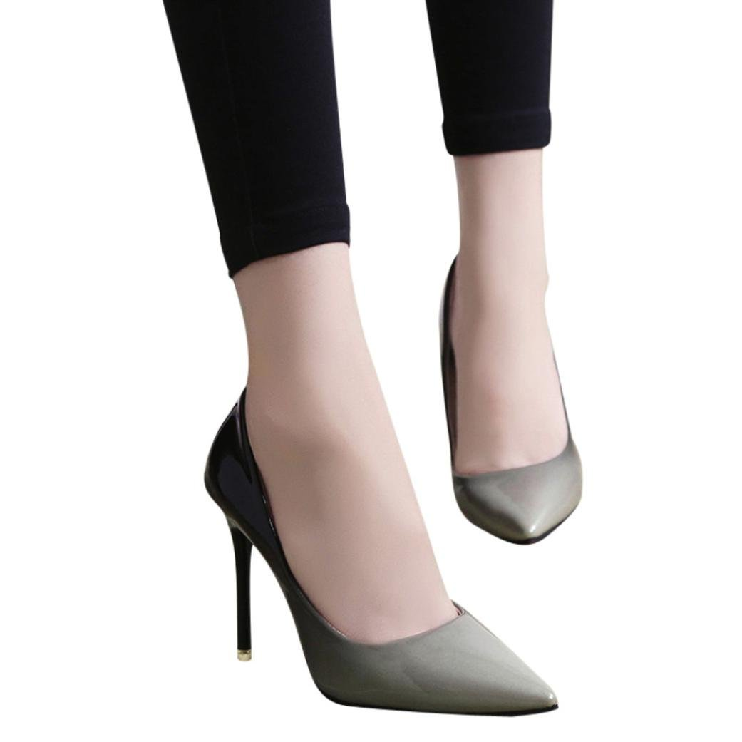 AIMTOPPY Summer Sandals, Women's Fashion Patent Gradient Color Pointed High Heels Shoes (US:9, Gray)