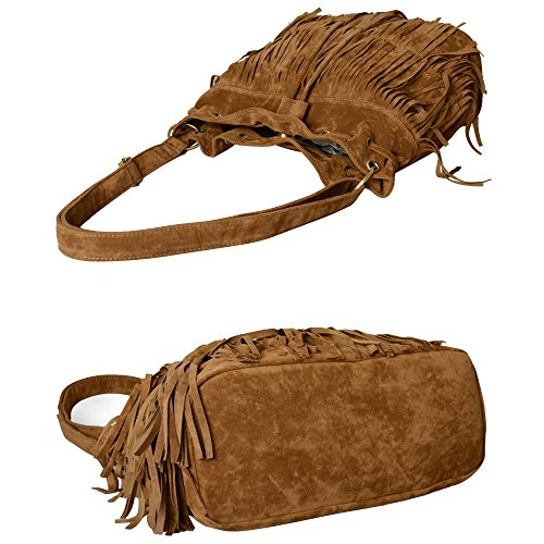 Faux Messenger Fashion Shoulder Brown Women Fringe Bag High Cross Suede Bag Lmeno Tassel Quality Body Handbag X0f7Cq