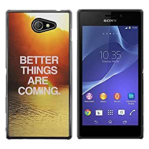 Be Good Phone Accessory // Dura Cáscara cubierta Protectora Caso Carcasa Funda de Protección para Sony Xperia M2 // Sunset Water Surf Text Motivational