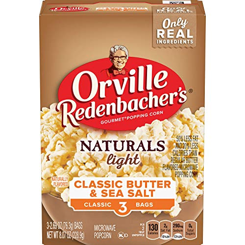 Orville Redenbacher's Naturals Light Classic Butter & Sea Salt Microwave Popcorn, 2.69 Ounce Classic Bag, 3-Count - Pop Orville Smart