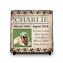 Custom Pet Memorial Stone | Pet Remembrance Polished Slate | Memorial Plaque | Personalized Dog or Cat Photo Slate | If Love Could Have Saved You... (Stone, 11.5x11.5)