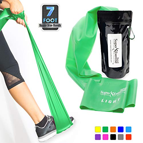 (Super Exercise Band Light Green 7 ft. Long Latex Free Resistance Bands Door Anchor Set, Carry Pouch, E-Book. for Home Gym, Strength Training, Physical Therapy, Yoga, Pilates, and Chair)