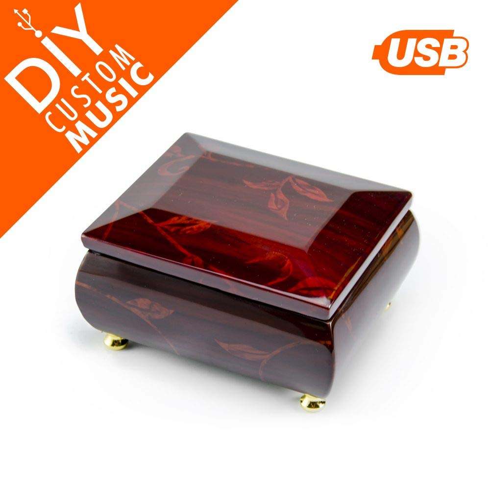 Music Box for Girls with 15+ MP3 Songs, 95 MB USB Module, Drag-n-Drop Music Upload, Solid Wood Red Jewelry Box with Gold Hardware, for Mom