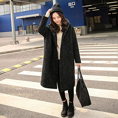 Formal Las De Invierno Trench Coat Mujeres A Abrigo Con Trabajo Moda Negros Mujer Yongbe Capucha Oficina Abrigos Largos Negocio Lana Parka Para 5wWxnfqXP