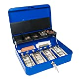 Cash Box with Money Tray and Secure Lock (Admiral Blue)