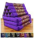 3 Fold Thai Cushion, 67x20x3 inches (LxWxH), Silk Look, 100 % Natural Kapok Filling, Foldable Thai Mat with Triangle Cushion, Headrest, Thai Pillow