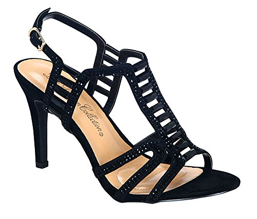 Women's Janice-2 Chic Sparkle Rhinestone Ankle Strap High Heel Career Dress Sandals Black 11