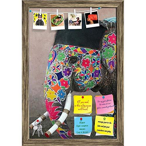 (Artzfolio Annual Elephant Festival in Jaipur India Printed Bulletin Board Notice Pin Board | Antique Golden Frame 16 X 23.5Inch)