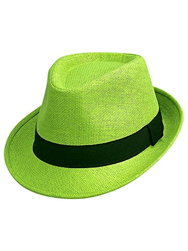 Luxury Divas Lime Green Basic Straw Fedora Hat ()