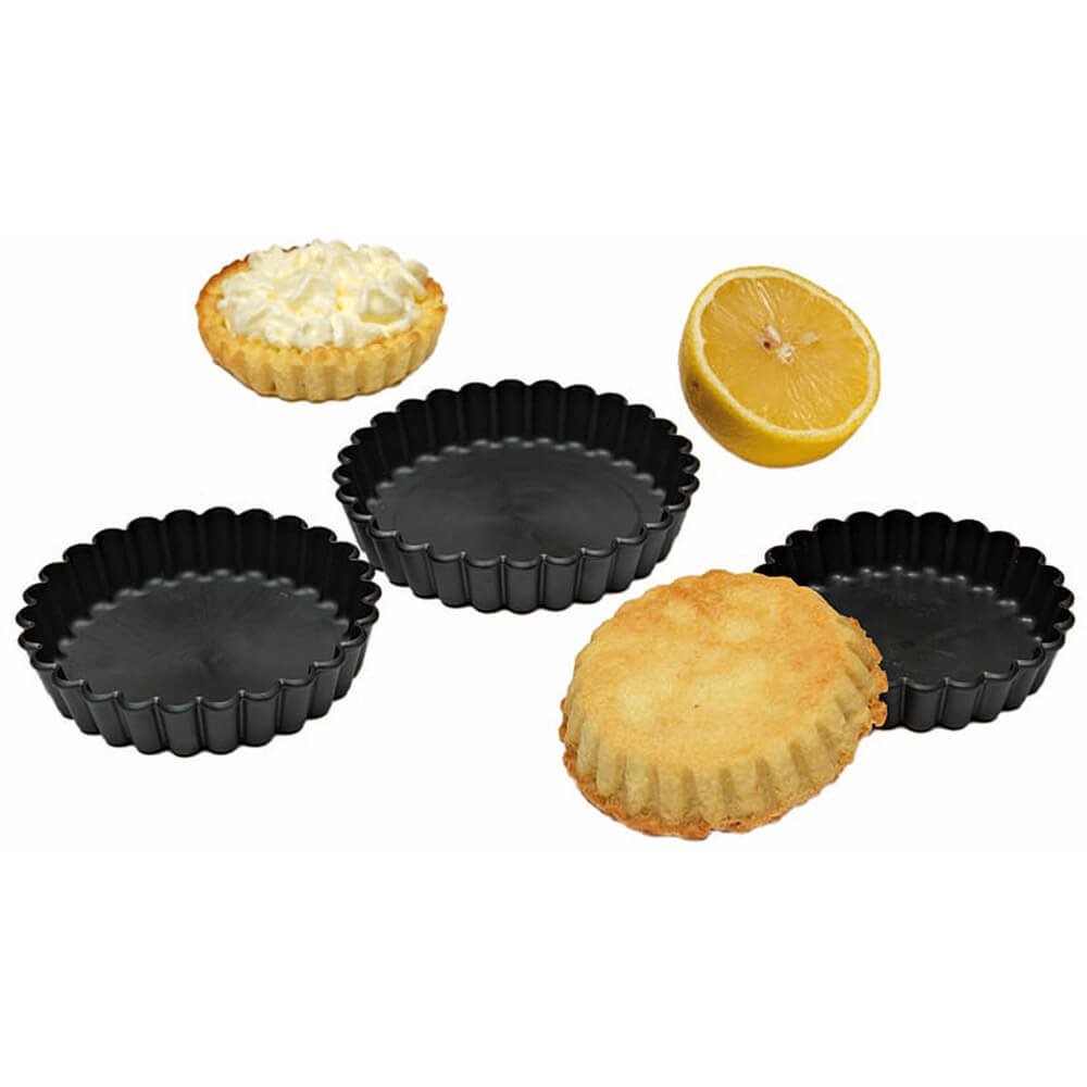 Matfer Bourgeat Exoglass Round Fluted Tartlet Baking Pan, 4.33'' Diam, 12PK Black 345659
