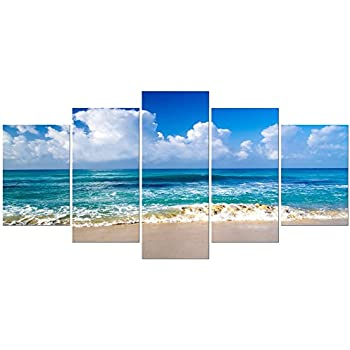Pyradecor Seaside Extra Large Canvas Prints Wall Art Ocean Sea Beach Landscape Pictures Paintings for Bathroom Home Decorations 5 Piece Modern Stretched and Framed Seascape Giclee Artwork XL