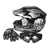 Automotive : XFMT Youth Kids Motocross Offroad Street Dirt Bike Helmet Goggles Gloves Atv Mx Helmet Black Skull M