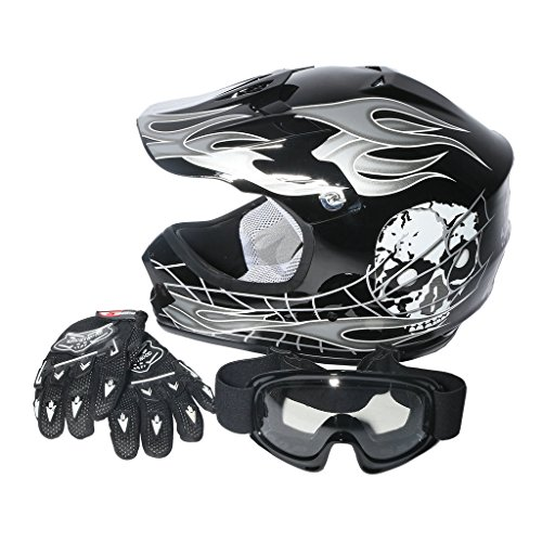 XFMT Youth Kids Motocross Offroad Street Dirt Bike Helmet Goggles Gloves Atv Mx Helmet Black Skull S (Snowmobile Helmet Youth)