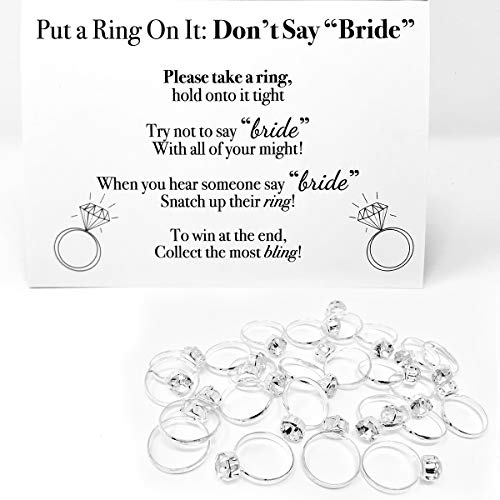 Put a Ring On It Bridal Shower Game for Guests- 36 Plastic Diamond Rings for bridal shower and Don't Say Bride Game Rules