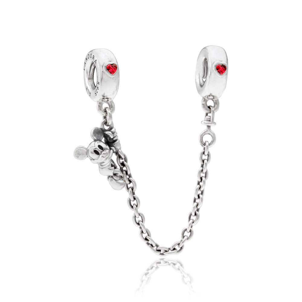 Pandora Disney Climbing Mickey Safety Chain Silver Bracelet 797173CZR05