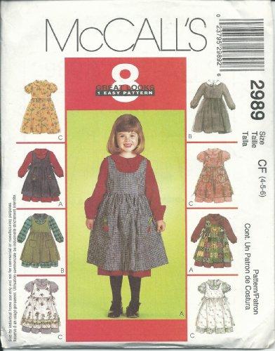 - McCall's 2989 Sewing Pattern Girls Dress & Pinafore Size 4-6