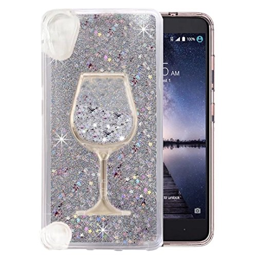 HTC Desire 626/ HTC 530 Case, QKKE [Wine Glass Diamond Series] 3D Glitter Bling Hearts Flowing Liquid Star Clear Hard Case for HTC Desire 626/ HTC 530(Goblet/Silver)