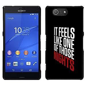 Noches texto fresco impresiones Partido Negro - Metal de aluminio y de plástico duro Caja del teléfono - Negro - Sony Xperia Z4v / Sony Xperia Z4 / E6508