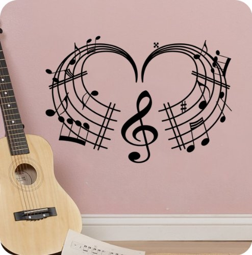 Love Heart Shape Music Notes Sheet Mural Wall Decal Sticker Treble Clef Instrument Sound