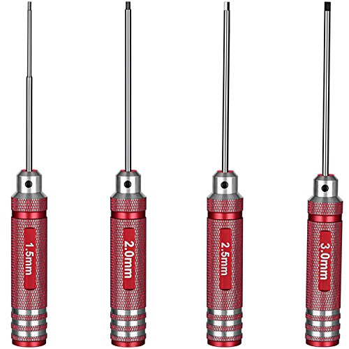 Neewer 4-in-1 Titanium Nitride TiNi Hex Driver Wrench Set for M2 M3 Socket Screw on RC Helicopter,Hexagonal Screwdriver Tool Made of Durable High Speed Steel,Includes 1.5mm 2mm 2.5mm 3.0mm Wrench(Red) (Hex Key Screwdriver Set)