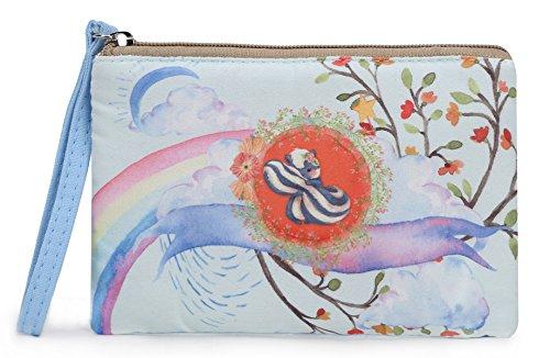Crest Design Cute Canvas Smartphone Wristlets Cash Coin Purses, Make Up Bag, Cellphone Clutch Purse With Wrist Strap (Blue Squirrel)