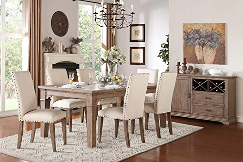 Michlim Rustic Industrial 7PC Dining Set Table, 6 Chair in Weathered Grey