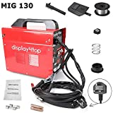 Display4top Professional Mig 130 Welder Gasless 230V No Gas with Mask & Welding Weld Wire with Brush/Tool Accessories,Fan Cooling,Red (MIG 130 Standard English)
