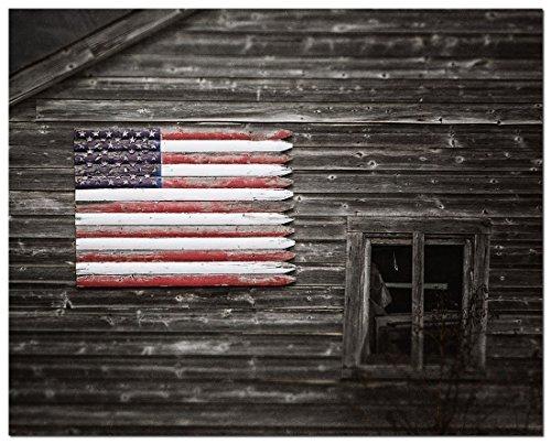 (American Flag Photograph - Barn Art - Patriotic Folk Art - American Flag Art - Unique Americana Wall Art Print.)