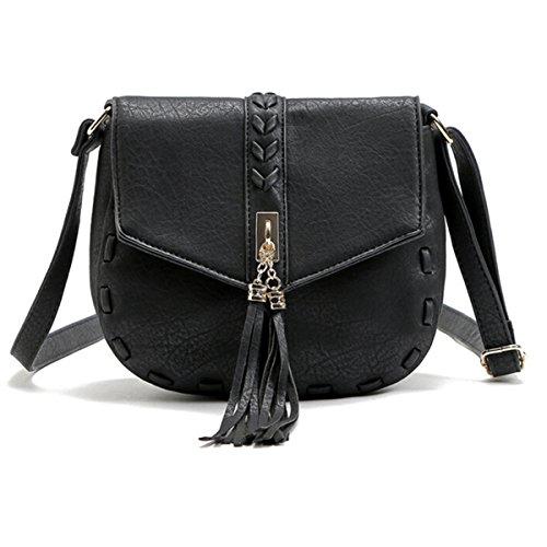 OURBAG Bolso de cuero PU de las mujeres de moda Totalizador de hombro Vendimia Bolso Crossbody con borlas caqui Negro