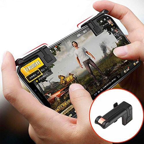 Mando del botón (handle grip) de 1 pares de juegos para teléfonos móviles Controlador de tiradores L1-R1(Negro La...