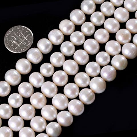 Gem-Inside 9-10MM Round White Genuine Cultured Pearl Beads Strand 15 Inches - 9mm White Round Pearl Necklace