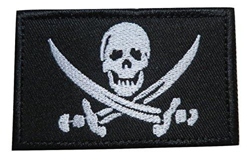 - TrendyLuz Pirate Skull Jack Jolly Roger Morale Tactical Embroidered Hook & Loop Patch