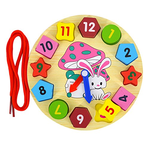 (Kennedy Children Wooden Early Education Toy Color Resoluting Shape Sorting Teaching Clocks Toy for Preschool Age Kids Toddlers)