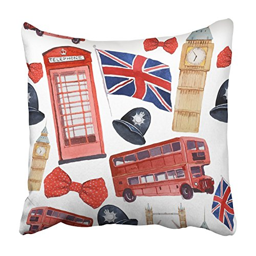 Emvency Square Throw Waist Pillow Case 18x18 Inches Decorative Cushion Pillowcases Watercolor London red Phone Booth Big Ben Throw Pillow Cover with Hidden Zipper for Bedroom Decor Sofa Couch