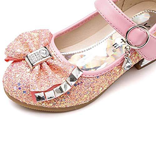 Zapatos De Talla Vestir 26 Rhinestone 36 Rosado Sandalias Niña Princesa Arco Fiesta Lentejuelas PXEqWXr