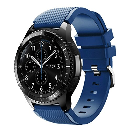BESSKY Gear S3 Frontier Watch Band, Soft Silicone Replacement Sport Strap for Gear S3 Frontier(140-251mm Navy)