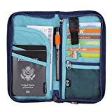 Zoppen RFID Travel Passport Wallet & Documents Organizer Zipper Case with Removable Wristlet Strap, Royal Blue