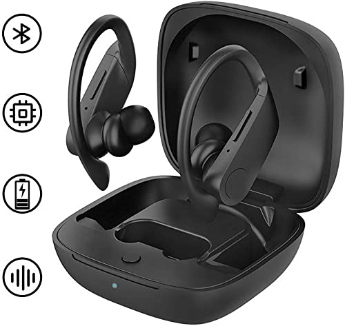 True Wireless Earbuds Bluetooth 5.0 Headphones 24 Hours Playtime in-Ear Wireless Earphones, Noise Cancelling Waterproof Bluetooth Earphones 3D Stereo Hi-Fi Sound Headset for Sport Work Black